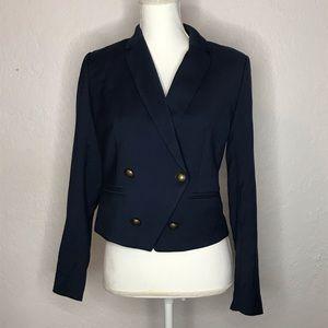 Abercrombie & Fitch Women's Navy Cropped Blazer